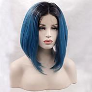 two tone ombre T1B / niebieski kolor syntetyczna peruka bob czarny korzeń żaroodporne peruki syntetyczne koronki przodu dla mody