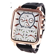 Men's V6 Tide Three Time Zone Leather With Military Sports Watch