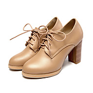 Women's Heels Spring Summer Fall Other PU Casual Chunky Heel Lace-up Black White Almond