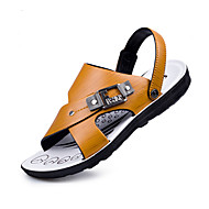 Men's Sandals Spring Summer Fall Winter Comfort Patent Leather Casual Flat Heel Buckle Brown Other