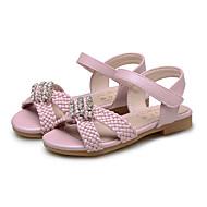 女の子用-ウェディング アウトドア ドレスシューズ カジュアル パーティー-レザーレット-フラットヒール-コンフォートシューズ フラワーガールの靴-サンダル-ピンク ベージュ