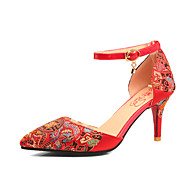 Femme-Mariage Habillé Soirée & Evénement-Rouge-Talon Aiguille-Bride de Cheville Chaussures brodées Confort-Sandales-Soie