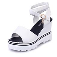 Kényelmes-Parafa-Női cipő-Szandálok-Irodai Ruha Party és Estélyi-Fordított bőr-Fekete Fehér Vörös