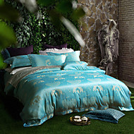 Floral Duvet Cover Sets 4 Piece Polyester Luxury Reactive Print Polyester Queen 1pc Duvet Cover 2pcs Shams 1pc Flat Sheet