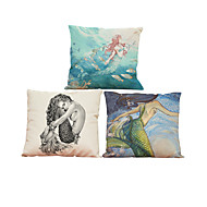 Set of3  Mermaid pattern  Linen Pillowcase Sofa Home Decor Cushion Cover