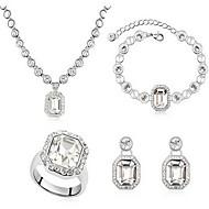 Jóias 1 Colar 1 Par de Brincos 1 Bracelete Anéis Cristal Festa Liga 1 Conjunto Feminino Branco Azul Azul Céu Presentes de casamento