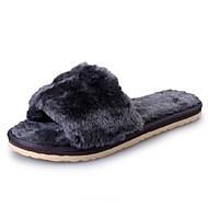 Черный Серый Пурпурный Светло-лиловый Синий-Для женщин-Повседневный-Овчина-На плоской подошвеТапочки и Шлепанцы