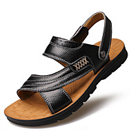 Men's Sandals Spring Summer Fall Comfort Light Soles Leather Outdoor Office & Career Casual Party & Evening Flat Heel RufflesBlack Yellow