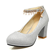 Damen-High Heels-Büro Kleid Party & Festivität-Satin-Blockabsatz Block FerseGold Schwarz Silber