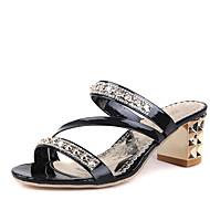 נשים-סנדלים-דמוי עור-רצועה אחורית נעלי מועדון-שחור סגול כסוף זהב-שטח משרד ועבודה יומיומי-עקב נמוך עקב עבה