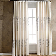 Linen Tree Printing Curtain Two Panel Curtains Drapes