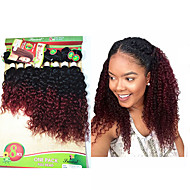 8-14inch 8 pcs/lot Brazilian deep curly ombre burgundy color Virgin Hair Brazilian Virgin Hair kinky curly weaves