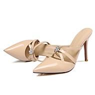 Damen-Sandalen-Kleid-Lackleder-StöckelabsatzWeiß Schwarz Beige Gelb Rosa