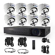 yanse® 8ch 720p CCTV-Kamera-d / n ir 4 führte Kuppel wasserdicht ahd DVR-Kit Sicherheitssystem