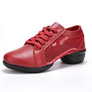 Feminino Sapatos Couro Ecológico Primavera Outono Conforto Tênis Ponta Redonda Dedo Fechado Para Casual Branco Preto Vermelho