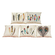 Set of 5 Feather pattern Linen Pillowcase Sofa Home Decor Cushion Cover