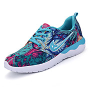 Women's Athletic Shoes Spring Fall Comfort PU Outdoor Athletic Casual Flat Heel Lace-up Blue Red Light Green Fitness & Cross Training