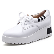 Women's Sneakers Spring Summer Fall Winter Creepers Leatherette Outdoor Athletic Casual Creepers Split Joint Lace-up Black White Cycling