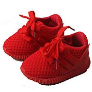 Baby-Flache Schuhe-Lässig-Tüll-Flacher Absatz-Lauflern Leuchtende Sohlen-Schwarz Rosa Rot