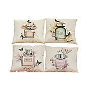 Set of 4 Perfume bottle pattern  Linen Pillowcase Sofa Home Decor Cushion Cover