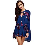 Dames Eenvoudig Overhemd,Casual/Dagelijks Bloemen V-hals Lange mouw Blauw Polyester