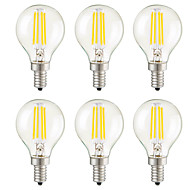 4W E14 E26/E27 E12 LED Filament Bulbs G45 4 COB 400 lm Warm White Dimmable Decorative AC 220-240Dimmable/ or AC 110-130 VDimmable- 6 pcs
