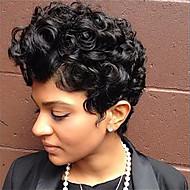 Femme Perruques capless à cheveux humains Noir de jais Court Ondulation Naturelle Coupe Lutin Coupe Dégradée Partie latérale Perruque
