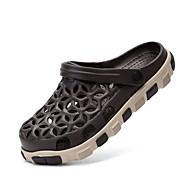 Γυναικεία παπούτσια-Σανδάλια-Ύπαιθρος Καθημερινό-Επίπεδο Τακούνι-τρύπα Παπούτσια-Προσαρμοσμένα Υλικά-Δερματί Γκρίζα Μάργα