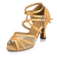 Customizable Women's Dance Shoes Satin Satin Latin Heels Flared Heel Practice Beginner Indoor Outdoor Performance Pink Camel