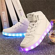 Jungen-Sneaker-Outddor Lässig Sportlich-Kunststoff-Flacher Absatz-Light Up Schuhe-Schwarz Rot Weiß