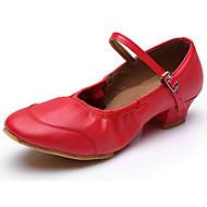Chaussures de danse(Noir Rouge) -Personnalisables-Talon Plat-Cuir-Modernes