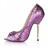 Kényelmes-Stiletto-Női cipő-Magassarkúak-Esküvői Ruha Party és Estélyi-Bőrutánzat-Fekete Kék Lila Ezüst Arany Narancssárga