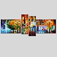 Håndmalte Abstrakt Oljemalerier + Prints,Moderne Klassisk Fire Paneler Lerret Hang malte oljemaleri For Hjem Dekor