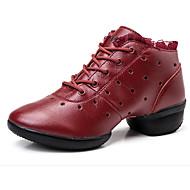 Sapatos de Dança(Preto Vermelho Branco) -Feminino-Personalizável-Balé
