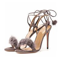 נשים-סנדלים-פליז-רצועת קרסול נעלי מועדון-שחור אדום אפור-חתונה שמלה מסיבה וערב-עקב סטילטו