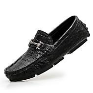 Herre-Lær-Flat hæl-Komfort-一脚蹬鞋、懒人鞋-Fritid-Svart Brun Hvit