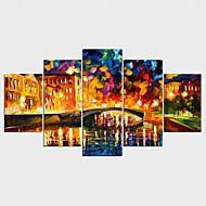 Lámina enmarcada Abstracto Paisaje Clásico Modern,Cinco Paneles Lienzos Cualquier Forma lámina Decoración de pared For Decoración hogareña