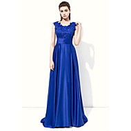 Formal Evening Dress - Elegant A-line Jewel Floor-length Stretch Satin with Appliques Beading