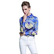 Dames Chinoiserie Lente Zomer Overhemd,Casual/Dagelijks Werk Print Overhemdkraag Lange mouw Blauw Katoen Dun