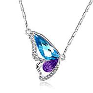 Femme Pendentif de collier Cristal Forme d'Animal Ailes / Plume Papillon Cristal Strass Mode Elegant Violet Rose Bleu clair Vert clair