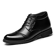 Men's Oxfords Spring Summer Fall Winter Comfort Leather Outdoor Office & Career Casual Party & Evening Flat Heel Ruffles Lace-up Black
