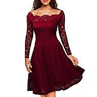 Kadın Dışarı Çıkma Büyük Beden Seksi Sokak Şıklığı A Şekilli Dantel Elbise Solid,Uzun Kollu Düşük Omuz Diz-boyu Polyester Bahar Sonbahar