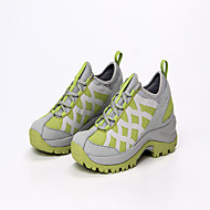 Women's Athletic Shoes Spring Summer Comfort Leather Tulle Microfibre Outdoor Athletic Low Heel Lace-up Split Joint Light Grey Light Green