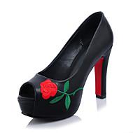 Dame-Mikrofiber-Stiletthæl-brodert sko-Høye hæler-Kontor og arbeid Formell Fest/aften-Svart Rød Hvit