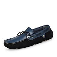 Herre-Lær-Flat hæl-Komfort-一脚蹬鞋、懒人鞋-Fritid-Svart Blå
