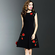 Women's Embroidery Plus Size Going out Sophisticated A Line Dress,Embroidered Ruched Round Neck Knee-length Sleeveless Cotton Nylon Black SummerMid