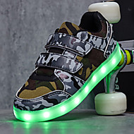Jongens Sportschoenen Lente Zomer Herfst Winter Comfortabel Light Up Schoenen Tule Buiten Casual Sport Lage hak Magic tapeZwart Wit Groen