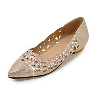 Women's Flats Spring Summer Fall Club Shoes Ballerina Glitter Party & Evening Dress Casual Flat Heel Sequin Sparkling Glitter Silver Gold