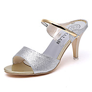 Dame Sandaler Komfort PU Vår Avslappet Komfort Flat hæl Gull Svart Sølv Lilla Flat