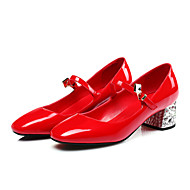 Women's Heels Spring Summer Fall Flower Girl Shoes Ankle Strap Patent Leather Wedding Party & Evening Dress Chunky HeelRhinestone Buckle